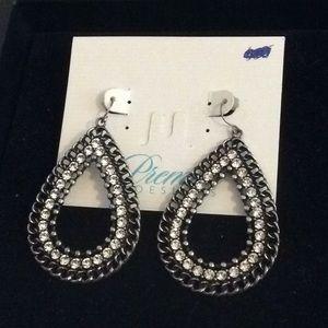 Black and rhinestone earrings